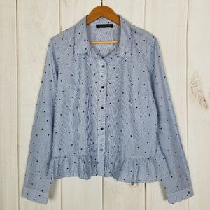 Tommy Hilfiger Preppie Blue Stripe Stars Blouse